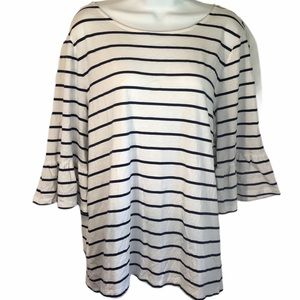 Tommy Bahama striped shirt short bell sleeves